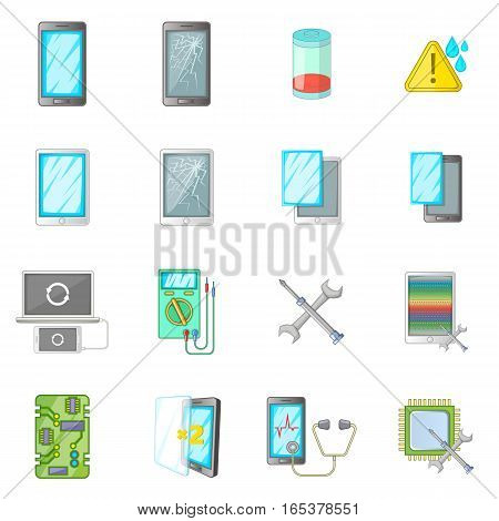 Broken phones fix icons set. Cartoon illustration of 16 broken phones fixl vector icons for web
