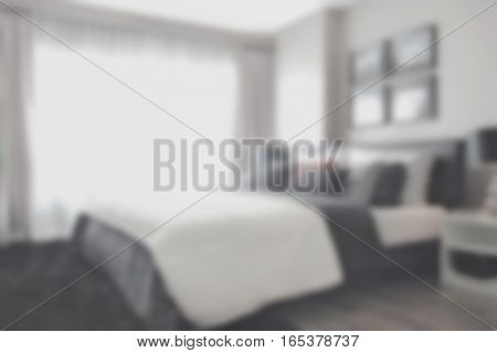 Blurred Background Bedroom In Modern Interior Style