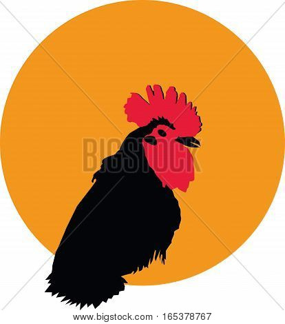 Rooster silhouette portrait on yellow background logotype, vector, eps 10