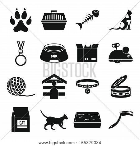 Cat care tools icons set. Simple illustration of 16 cat care tools vector icons for web