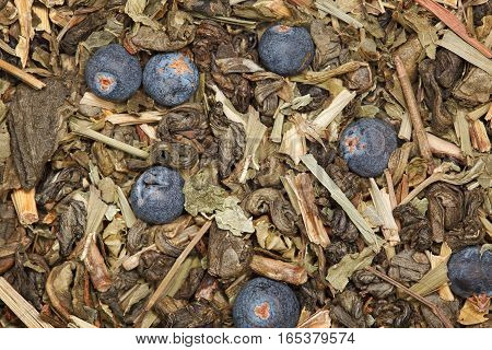 Green tea with juniper berry composition details