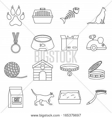 Cat care tools icons set. Outline illustration of 16 cat care tools vector icons for web