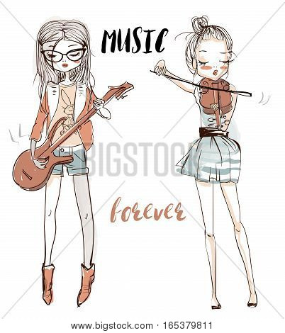 the illustration of a beautiful girls who plays the guitar and violin