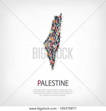 Isometric set of styles, people, map of Palestine, country, web infographics concept of crowded space, flat 3d. Crowd point group forming a predetermined shape. Creative people. Vector illustration. Photo vector.3D illustration. White background . Isolate