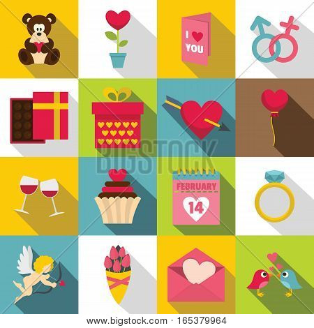 Saint Valentine icons set. Flat illustration of 16 Saint Valentine vector icons for web