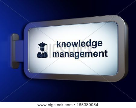 Education concept: Knowledge Management and Student on advertising billboard background, 3D rendering