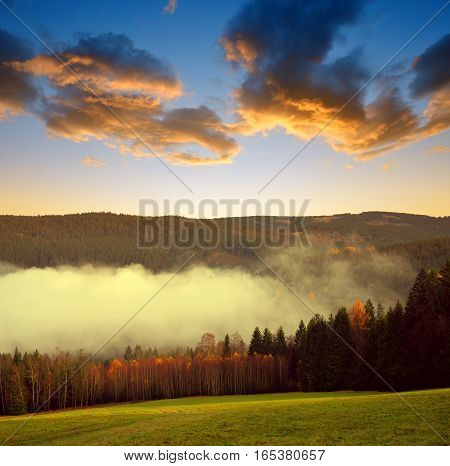 Beautiful landscape in the National park Sumava at sunset, Czech Republic