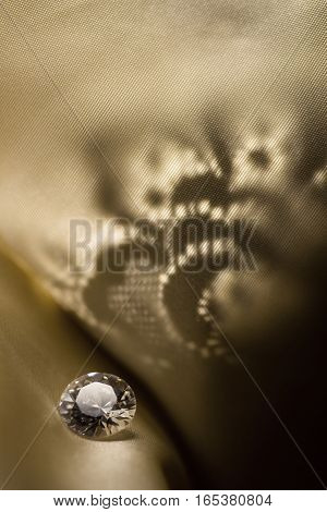 Amazing diamond on vintage pattern background with soft light.