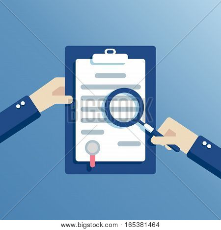 Hands of a businessman holding a contract or agreement and examined it through a magnifying glass flat vector design business concept contract learning