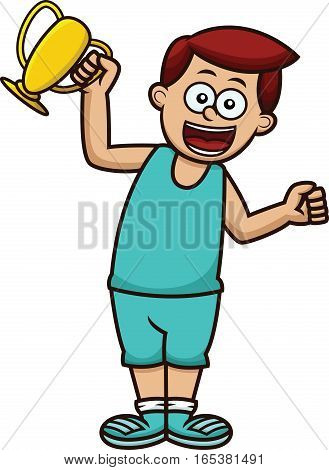 Boy Winning a Trophy Cartoon Illustration Isolated on White