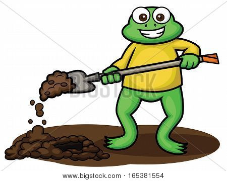 Frog Digging with Digging Spade Cartoon Illustration