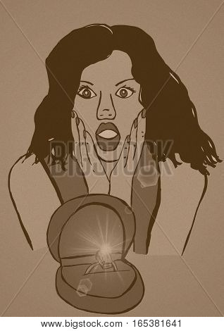 Wow ring vintage image of a surprised girl