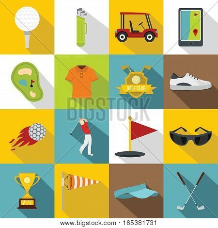 Golf items icons set. Flat illustration of 16 golf items vector icons for web