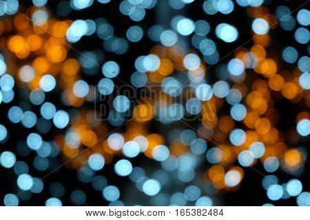 Bokeh light, bokeh light blue and orange background.