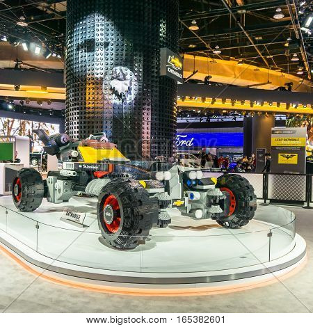 DETROIT MI/USA - JANUARY 15 2017: Chevrolet LEGO Movie Batmobile car at the North American International Auto Show (NAIAS). Inspired by Batman's Speedwagon in