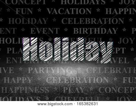 Holiday concept: Glowing text Holiday in grunge dark room with Dirty Floor, black background with  Tag Cloud