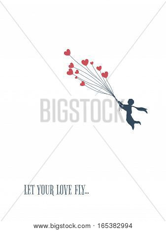 Love concept for valentine's day, little boy flying with heart shape balloons. Valentine card template. Eps10 vector illustration.