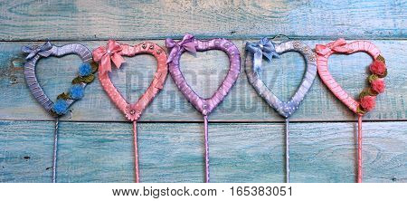 Hearts of satin ribbons multicolored handmade for Valentine's Day