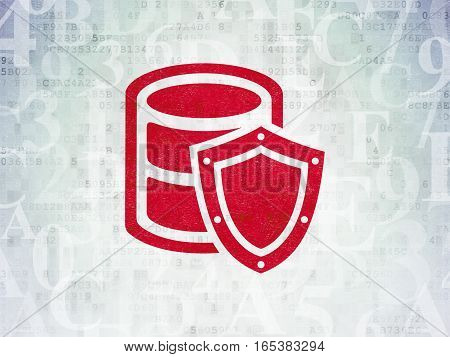 Programming concept: Painted red Database With Shield icon on Digital Data Paper background with  Hexadecimal Code