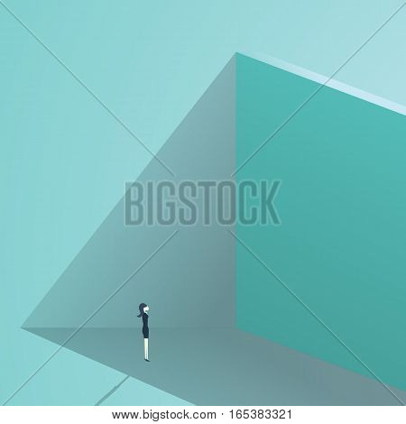 Businesswoman standing in front of high wall as a business challenge or business opportunity concept. Finding solution symbol. Eps10 vector illustration.