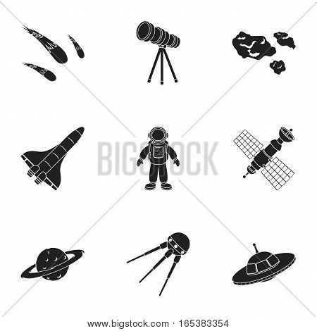 Space set icons in black style. Big collection of space vector symbol stock