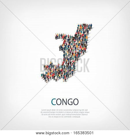 Isometric set of styles, people, map of Republic of the Congo , country, web infographics concept of crowded space, flat 3d. Crowd point group forming a predetermined shape. Creative people. Vector illustration. Photo vector.3D illustration. White backgro