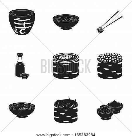 Sushi set icons in black style. Big collection of sushi vector symbol stock