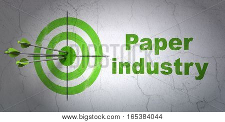 Success Manufacuring concept: arrows hitting the center of target, Green Paper Industry on wall background, 3D rendering