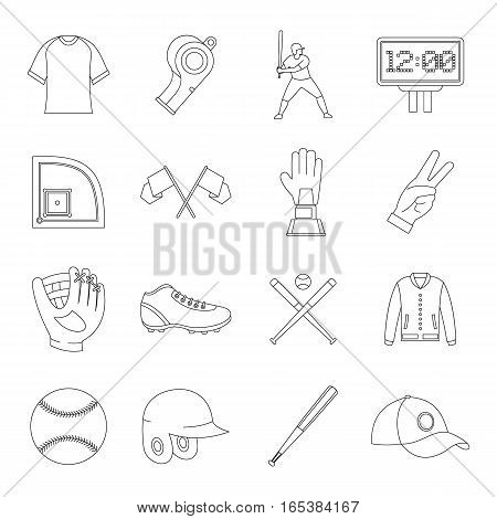 Baseball icons set. Simple illustration of 16 baseball vector icons for web