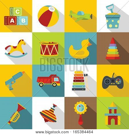 Different kids toys icons set. Flat illustration of 16 Different kids toys vector icons for web