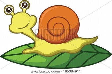 Snail Crawling on Leaf Cartoon Illustration Isolated on White