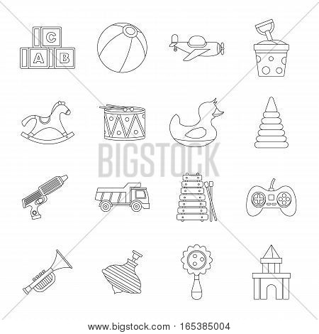 Different kids toys icons set. Outline illustration of 16 Different kids toys vector icons for web