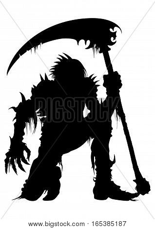 Illustration dead warrior in an armor with a scythe