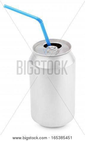 Opened 330 ml aluminum soda can with blue straw isolated on white background with clipping path