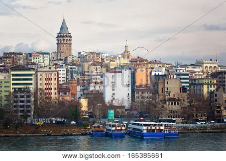 View of the passage the Gold Horn Beyoglu's region and Galata Tower Istanbul