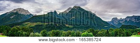 Panorama of alpine mountains in Berchtesgaden national park Bavaria Germany