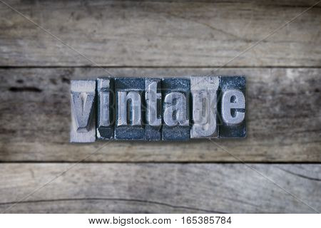 Vintage Word On Wooden Table