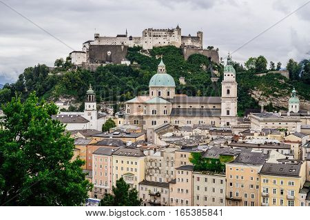 View on Hohensalzburg Fortress and historical center of Salzburg Austria