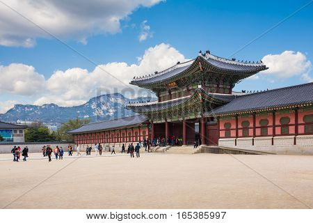 SEOUL KOREA - APRIL 12 2015: The gate of Gyeongbokgung Palace in Seoul South Korea