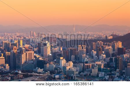 Seoul City And Downtown Skyline In Seoul, South Korea