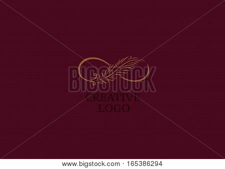 Linear creative logo infinity sign and Feather
