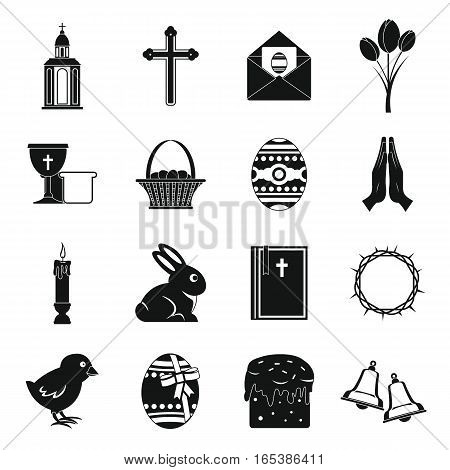 Easter items icons set. Simple illustration of 16 Easter items vector icons for web
