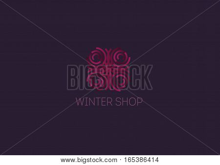 Creative logo abstract geometric lines with rounded winter snowflake
