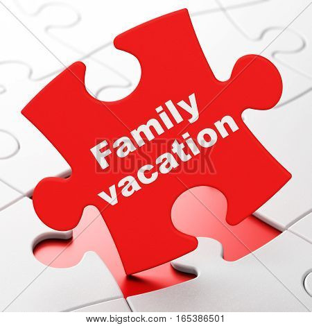Vacation concept: Family Vacation on Red puzzle pieces background, 3D rendering