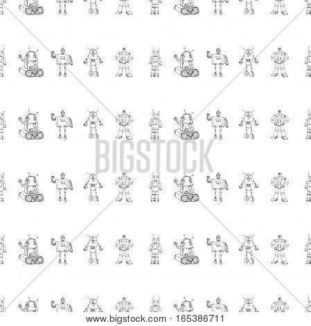 Seamless robot black and white doodle pattern. The concept of science and the future. Cartoon style. Hand-drawn monochrome illustration.