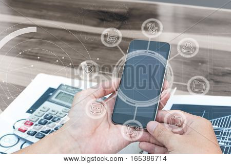 Business Technology Concept,business People Hands Use Smart Phone