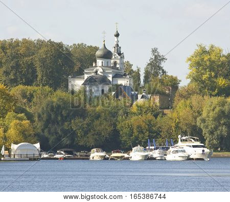 Moscow church of Assumption of the Virgin in Troitse Lykovo on Moskva-river.