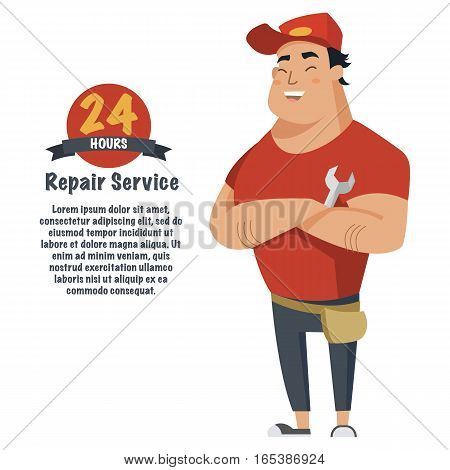 Repair man with wrench in hand. Plumber, mechanic or handyman in work clothes.Flat vector illustration
