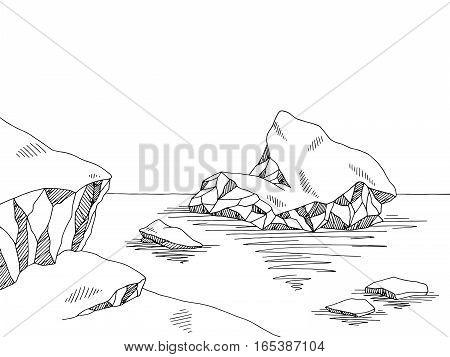 Iceberg graphic black white sketch illustration vector