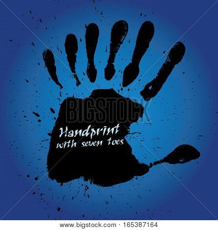 Handprint with seven fingers, vector illustration, blue background